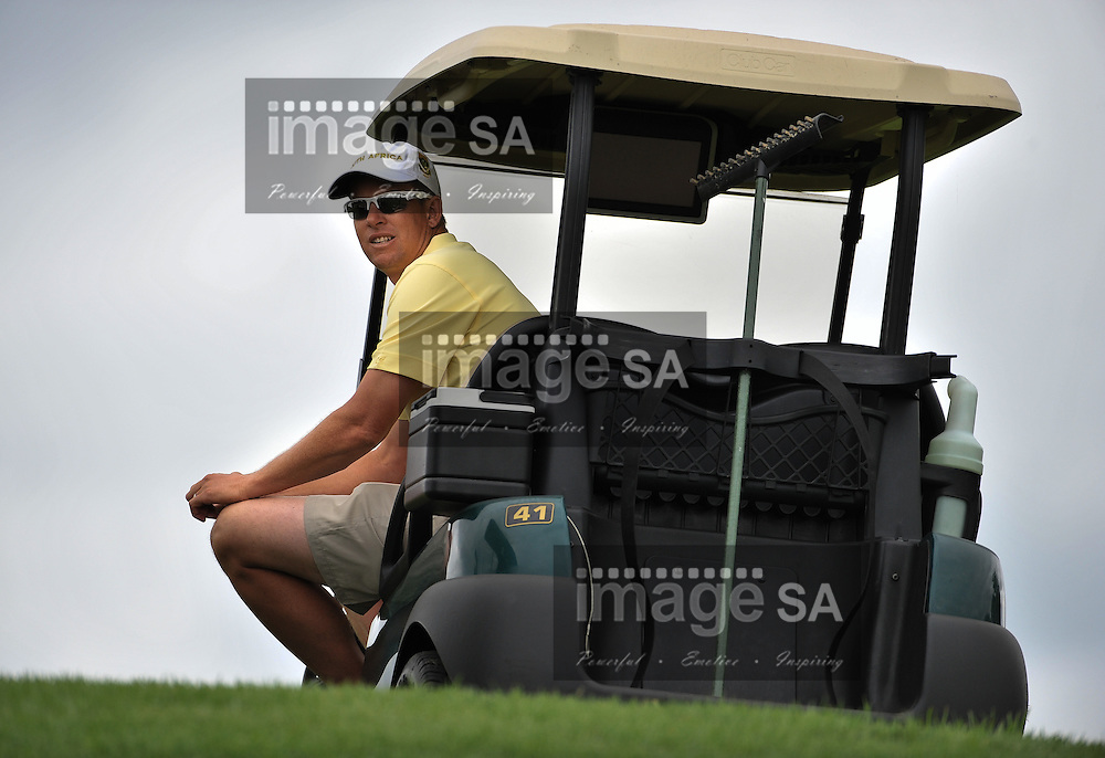 MALELANE, SOUTH AFRICA - Wednesday 18 February 2015, Llewellyn von Leeuwen, coach of South Africa,  during the first round foursomes of the annual Leopard Trophy, a two day test between teams of the South African Golf Association and the Scottish Golf Union, at the Leopard Creek Golf Estate.<br /> Photo Roger Sedres/ Image SA