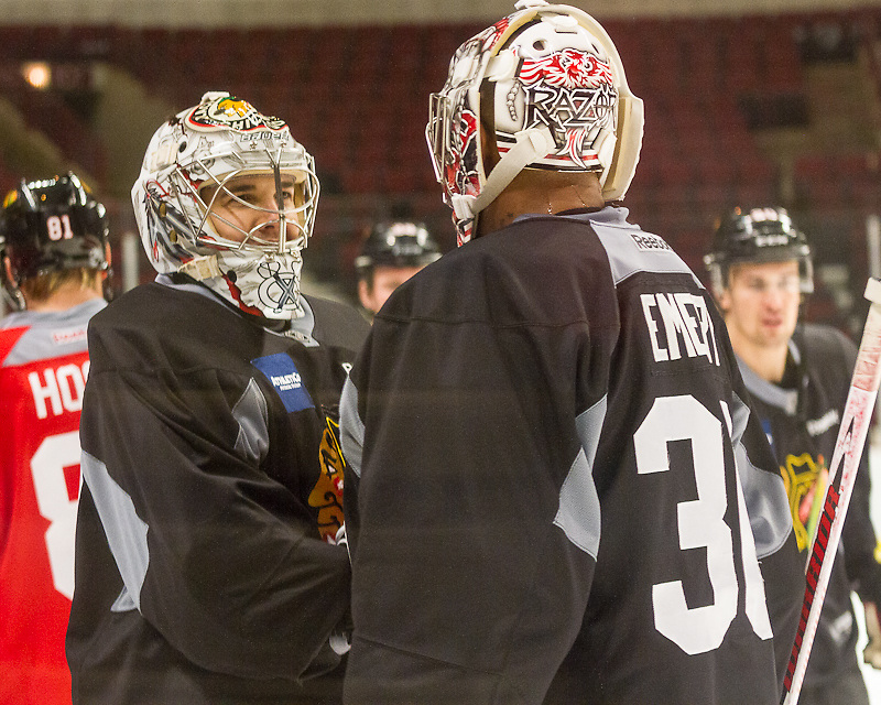 Chicago Blackhawks goalies Cory Crawford and Ray Emery practicing at the United Center December 29, 2011.
