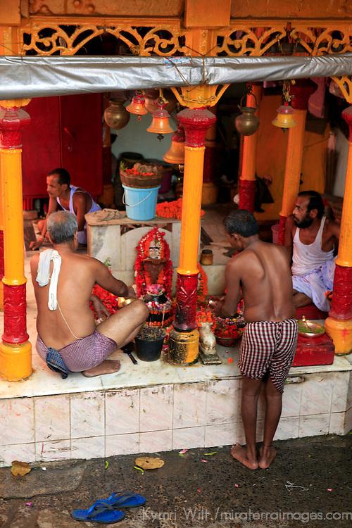 Asia, India, Calcutta. Shrine by the River Hooghly in Calcutta.