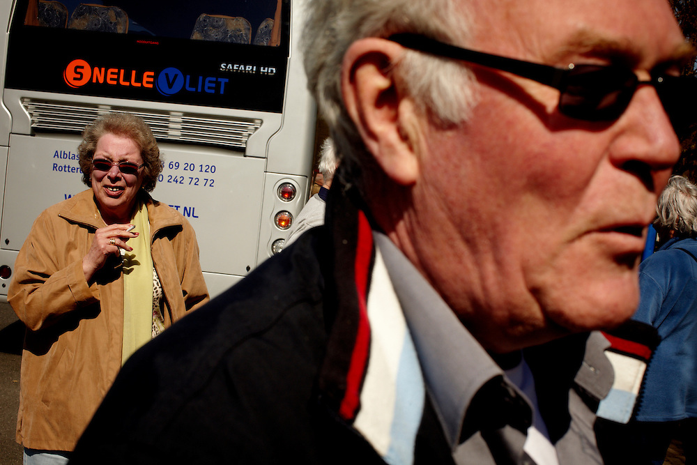 Germany, 17.04.10..Due to the closed airspace over Europe, a group of 24 norwegian retirees hired a bus for 9300 euro, and embarked on the 20 hour roadtrip back home from vacation...Photo by: Eivind H. Natvig/MOMENT