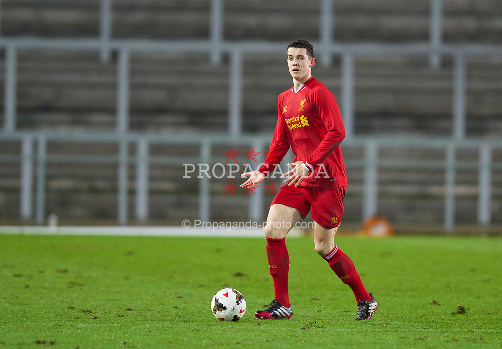 ST. HELENS, ENGLAND - Wednesday, January 15, 2014: Liverpool's Jordan Williams in action against Aston Villa during the FA Youth Cup 4th Round match at Langtree Park. (Pic by David Rawcliffe/Propaganda)