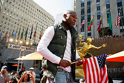 September 19, 2007; New York, NY, USA; World Welterweight Champion Floyd Mayweather Jr at the press conference announcing his bout against World Junior Welterweight Champion Ricky Hatton.  The fight will take place on December 8, 2007 at the MGM Grand Garden Arena in Las Vegas, Nevada.