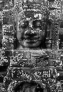 Large head at the Bayon temple in Angkor Thom.<br /> Nov.2001