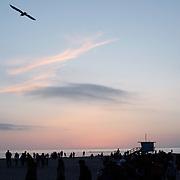 Near the boardwalk, the Santa Monica beach at sunset