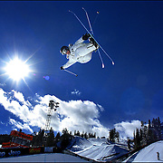 SHOT 1/26/2004 - Ski Superpipe competitor Gigi Couttet, 15, of Courchevel, France blasts out of the pipe during a practice session at Winter X Games VIII at Buttermilk Mountain in Aspen on Monday. Men's Superpipe finals are on Tuesday evening. The five day long event that started Friday and continues through Tuesday and features more than 250 of the top winter sports athletes from across the globe competing in Moto X, Ski, Snowboard and Snowmobile. For the first time, the Winter X Games will feature nighttime events under lights to go along with the live telecasts.