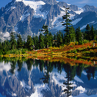 Mt. Shuksan, Reflection in Lake, Fall, Mt. Baker Scenic Byway, Washington