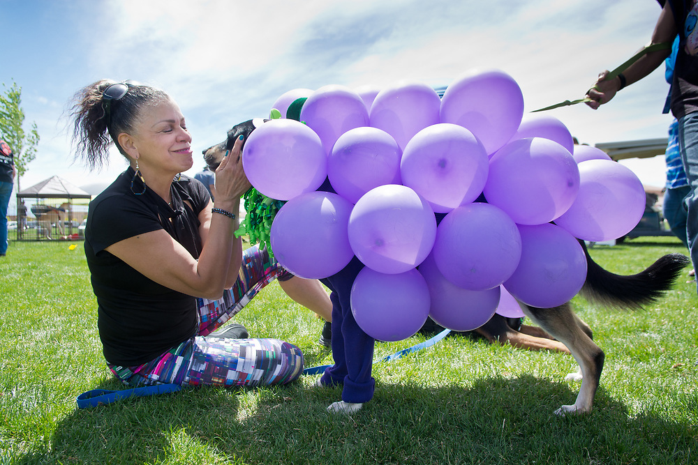 mkb041617b/metro/Marla Brose -- Vernell Kline cuddles with Sakarrah, a Rottweiler/Shepherd mix dressed as a bunch of grapes during the Eggs N' Beggin costume contest at Cabezon Recreation Center in Rio Rancho, Saturday, April 8, 2017. (Marla Brose/Albuquerque Journal)