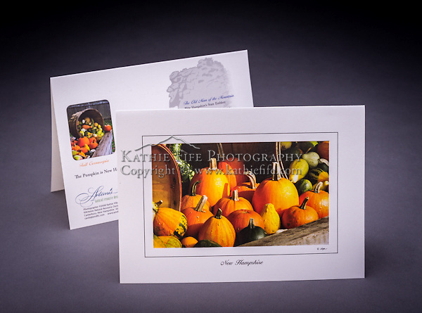 In recent years, the pumpkin became NH's state fruit. <br /> <br /> Artemis Photo Greeting Cards featuring NH native flora and fauna and historic sites. The cards are made exclusively in NH made from 100% FSC recycled paper, manufactured with wind and water power, and are archival acid free paper. Each card includes details on the back about the image, including interesting anecdotes, historic facts, conservation status, and recipes.