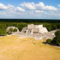 Templo de los Guerreros, or Temple of the Warriors, is one piece of the ancient Mayan ruins at Chichen Itza, on the Yucatan Peninsula in Mexico.