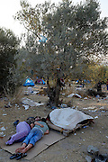 Morning at Refugee camp Kara Tepe near Mytilene city. It hosts Syrian refugees who are waiting for their registration papers that will allow them to stay in Greece for some time till they can move to an other European country.