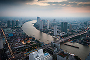 Bangkok city aerial and the Chao Phraya river, Thailand