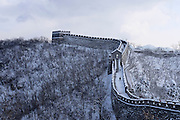 General view of the Great Wall of China at the  Mutianyu section while covered with snow in winter in Beijing, China Wednesday, Nov. 25, 2015. (AJ Mast)