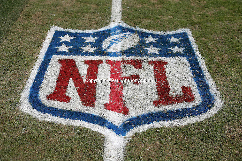 The NFL shield is painted on the grass for the San Diego Chargers NFL week 17 football game against the Oakland Raiders on Sunday, Dec. 30, 2012 in San Diego. The Chargers won the game 24-21. ©Paul Anthony Spinelli