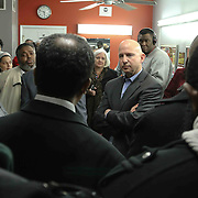 University of Delaware Associate professor Yasser A. Payne Ph.D. organizes a candid conversation with Delaware Gov. Jack Markell (RIGHT) Wilmington Delaware Mayor Dennis Williams (LEFT) and members of the east side community Monday, Jan. 05, 2015 in Wilmington, DE.