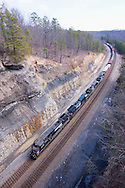 "The hallmark of Norfolk Southern's ex-Southern Railway main line through Kentucky and Tennessee, known as the ""Rathole"", is these deep rock cuts, made during a line relocation project in the 1960s."