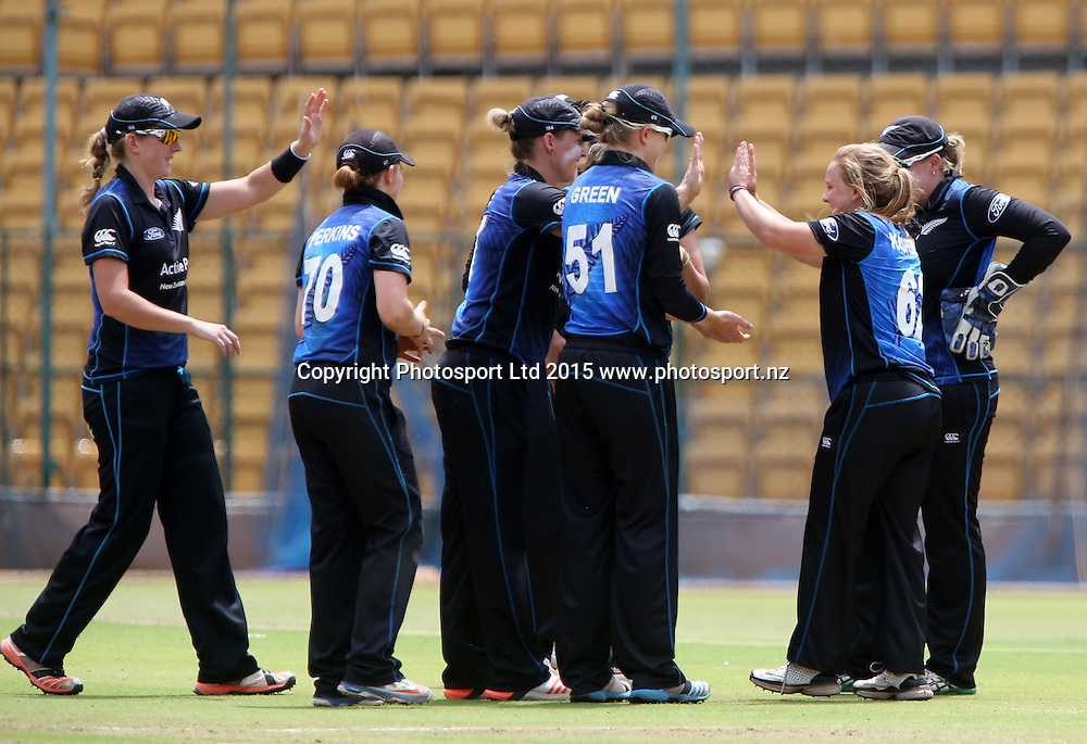 Leigh Kasperek of New Zealand Woman Cricket team cleebrates the wicket of Shikha Pandey during the 2nd ODI match at Chinnaswamy Stadium in Bangalore.