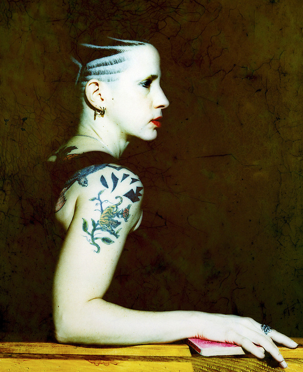 Author Kathy Acker photographed mid-1990s in San Francisco.<br /> <br /> This image is available as a limited print edition. For print availability &amp; pricing or rights managed licensing of this image contact the photographer directly through email.