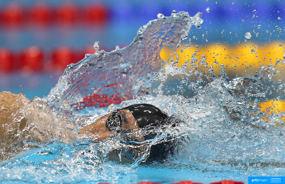 Michael Phelps, USA, during his historic Men's 4X 200m Relay swim which the USA won gold and Phelps became the most Medal winning Olympian with nineteen at the Aquatic Centre at Olympic Park, Stratford during the London 2012 Olympic games. London, UK. 31st July 2012. Photo Tim Clayton