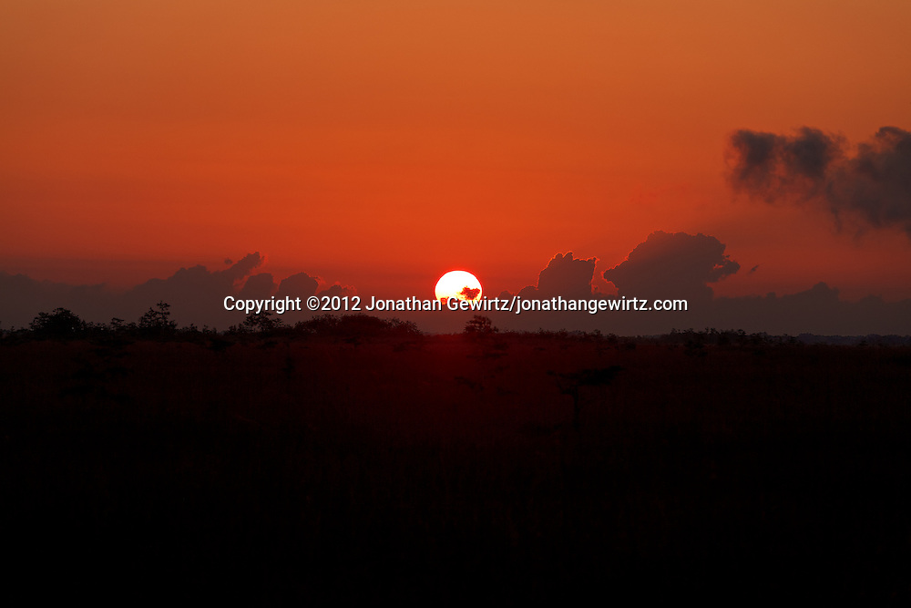 Looking East over sawgrass wetland from Pa-hay-okee Overlook in Everglades National Park, Florida as the sun rises behind low clouds. WATERMARKS WILL NOT APPEAR ON PRINTS OR LICENSED IMAGES.