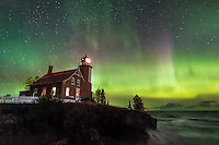 Northern Lights over Eagle Harbor Lighthouse and Lake Superior