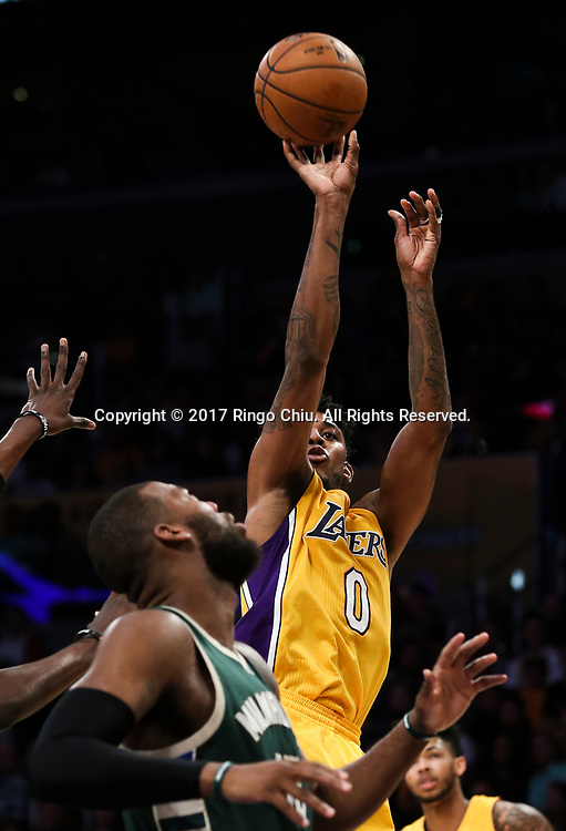 Los Angeles Lakers guard Nick Young (#0) shoots against Milwaukee Bucks during an NBA basketball game, Friday, March 17, 2017.(Photo by Ringo Chiu/PHOTOFORMULA.com)<br /> <br /> Usage Notes: This content is intended for editorial use only. For other uses, additional clearances may be required.