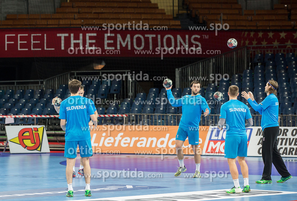 Klemen Cehte of Slovenia (3rd from R) during practice session of Team Slovenia on Day 1 of Men's EHF EURO 2016, on January 15, 2016 in Centennial Hall, Wroclaw, Poland. Photo by Vid Ponikvar / Sportida
