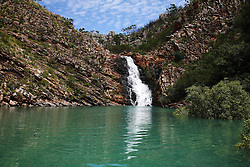 Water still flows at a  waterfall in Talbot Bay in early March near the end of the Kimberley wet season.