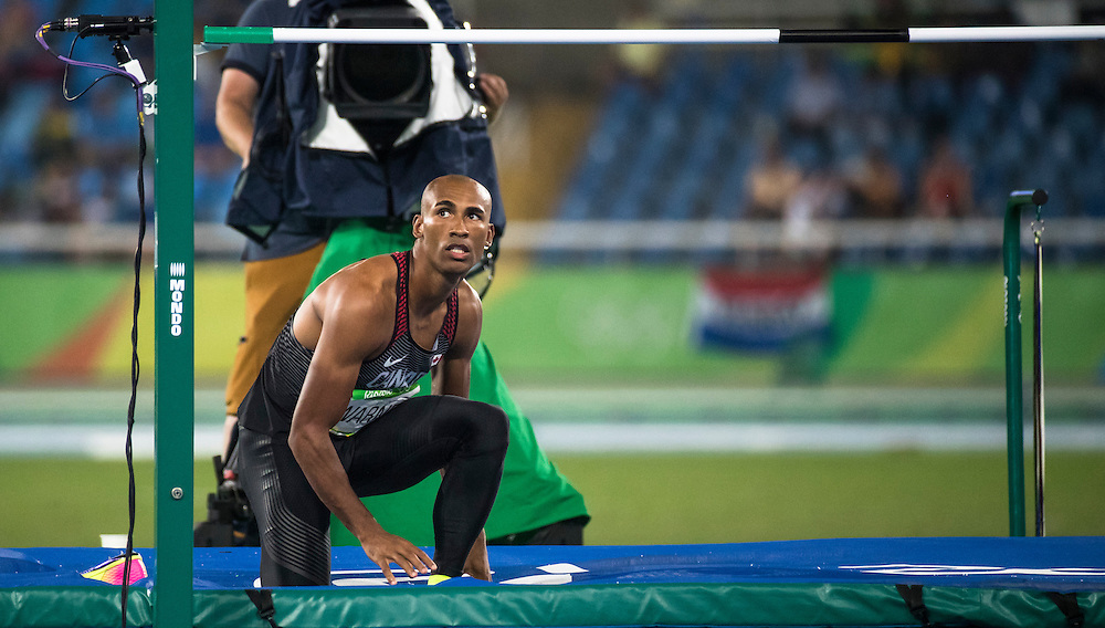 Damian Warner competes in the Olympic high jump decathlon in Rio de Janeiro on August 17, 2016.