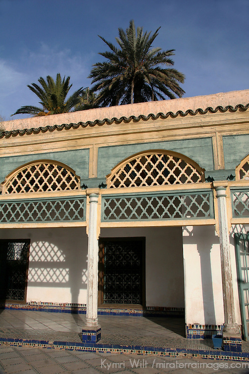 North Africa, Morocco, Marrakesh. Carved stucco archways of El Bahia Palace Courtyard.