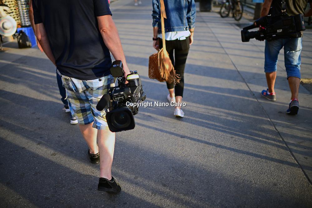 TV crew in Venice Beach, California.