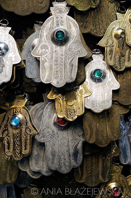 Morocco, Fez. Hand of Fatima- a palm-shaped amulet popular throughout the Middle East and North Africa. (also called: hamsa, khamsa, chamsa)