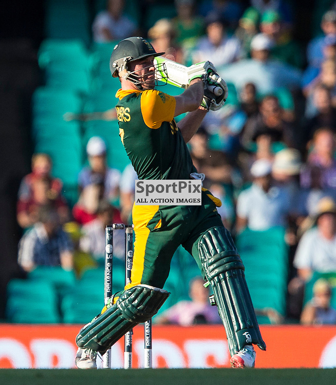 ICC Cricket World Cup 2015 Tournament Match, South Africa v West Indies, Sydney Cricket Ground; 27th February 2015<br /> South Africa&rsquo;s AB De Villiers smashes another 4