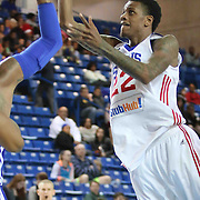 Delaware 87ers Guard Jamal Jones (22) attempts a shot in the paint in the first half of a NBA D-league regular season basketball game between the Delaware 87ers and the Westchester Knicks (New York Knicks) Sunday, Dec. 28, 2014 at The Bob Carpenter Sports Convocation Center in Newark, DEL