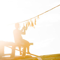 various scenes in and around the harbor on the south side of the island as viewed from a small boat, in these a man hangs squid to dry on a rope strung across the deck of a fishing boat
