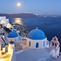 moonrise over the town of Oia,Santorini, Kyclades,South Aegean, Greece,Europe