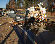 NorthEast Mississippi Electric Power Association truck wreck with a car at the intersection of McElroy Drive and Molly Barr on Wednesday, January 13, 2010.