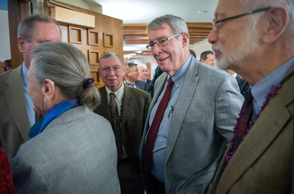 em020917f/a/Sen. Minority Leader Stuart Ingle, R-Portales, center, along with Democratic and Republican Senators wait to enter the House Chambers to hear a speech by U.S. Congressman Steve Pearce at the State Capitol in Santa Fe, Thursday February 9, 2017.  (Eddie Moore/Albuquerque Journal