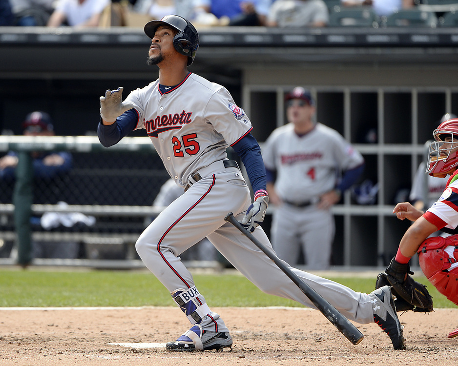 CHICAGO - APRIL 09:  Byron Buxton #25 of the Minnesota Twins bats against the Chicago White Sox on April 9, 2017 at Guaranteed Rate Field in Chicago, Illinois.  (Photo by Ron Vesely)   Subject:  Byron Buxton