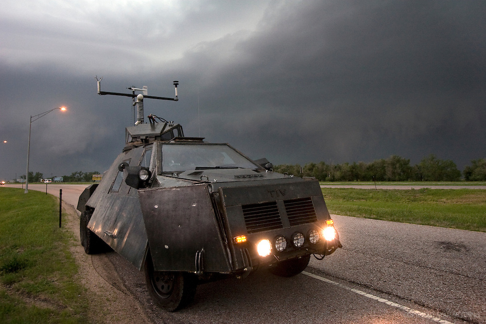 The Tornado Intercept Vehicle 2 just east of Kearney, NE, on I-80, May 29, 2008.  The TIV is a the second generation of a vehicle specifically designed by storm chaser Sean Casey to allow him to penetrate and film the inside of tornadoes.