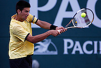 17 March 2007: Novak Djokovic (SRB) (in yellow) defeated Andy Murray (GBR) 6-2, 6-3 on the main court at the 2007 Pacific Life Open Tennis Tournament in Indian Wells, CA on Saturday.