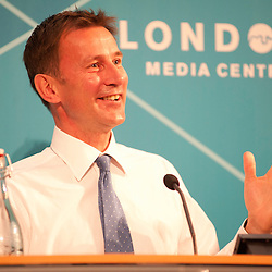 London, UK - 13 August 2012: Culture Secretary, Jeremy Hunt speaks during the final press conference of the Olympic Games to discuss the success of London 2012.