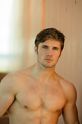 shirtless All American man with blue eyes and brown hair