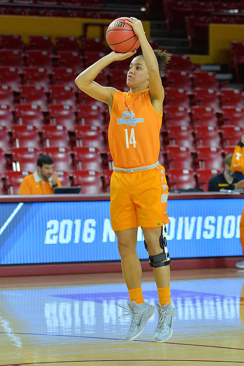 March 17, 2016: Tennessee Lady Vols guard Andrea Carter (14) takes a jump shot during the first practice day of the 2016 NCAA Division I Women's Basketball Championship first round in Tempe, Ariz.