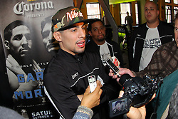October 16, 2012; New York, NY; USA; Danny Garcia speaks to the media ahead of his fight against Erik Morales Saturday night at the Barclay's Center in Brooklyn, NY.