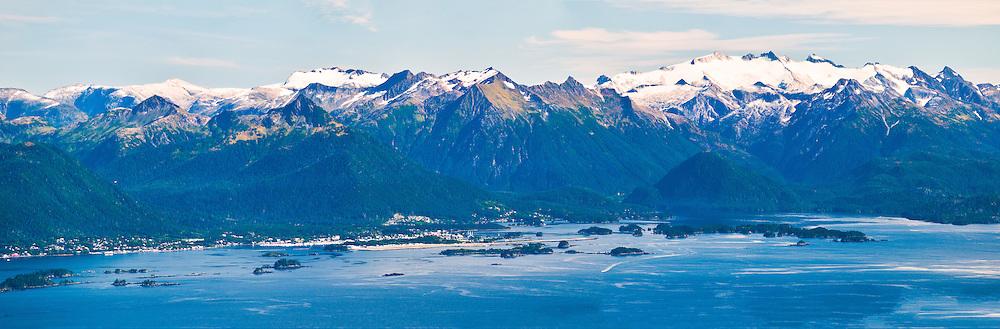 Panorama of Sitka & Baranof Island from the summit of Mt. Edgecumbe, Kruzof Island, Southeast Alaska