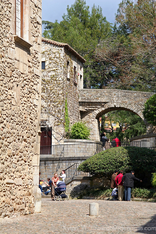 Europe, Spain, Girona. Sunny day in Girona, Spain.