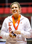 Columbus East senior Daran Brady seen on the medal stand after finishing sixth on the uneven bars at the IHSAA gymnastics state finals meet at Worthen Arena in Muncie, Indiana. (Michael Hickey | For The Republic)
