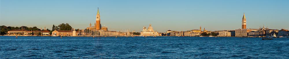 Panorama of the Grand Canal, Venice, Italy: from left to right: San Giorgio Maggiore, Basilica di Santa Maria della Salute, St Mark's Campanile
