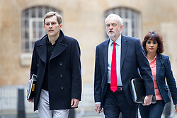 © Licensed to London News Pictures. 23/04/2017. London, UK. Seumus Milne (Strategy & communications director for Jeremy Corbyn), Leader of the Labour Party Jeremy Corbyn and Laura Alvarez arriving at BBC Broadcasting House to appear on The Andrew Marr Show this morning. Photo credit : Tom Nicholson/LNP