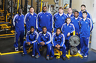 Oxford High weightlifters SITTING (l. to r.) Elisha Brassell, Duen Coleman, Kevin Whitney and MIDDLE (l. to r.) William Paine, Christian Sanchez, Clifton Smith, Joel Forrester, Bo Nash, Challen Griffin, and coaches Chris Cutcliffe and BACK (l to r.) Matt Conner and Jason Russell, in Oxford, Miss. on Monday, April 15, 2013, won the Class 5A state championship on Saturday at the Mississippi Coliseum in Jackson, Miss..